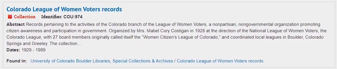 Screenshot of search result for Colorado League of Women Voters records, with fields as described below