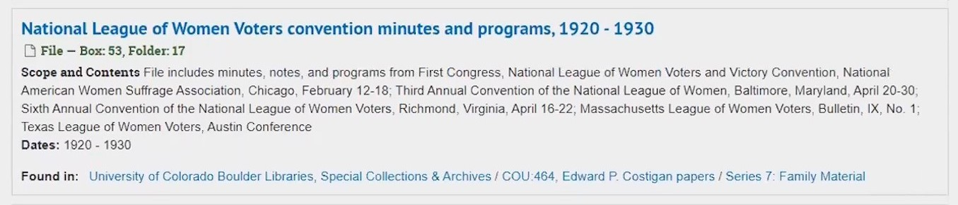 Screenshot of search results for National League of Women Voters convention minutes and programs, with fields as described above