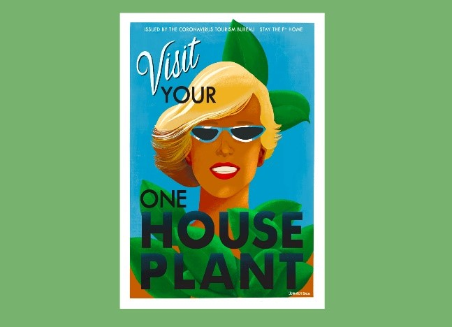 Poster with Woman and House Plant