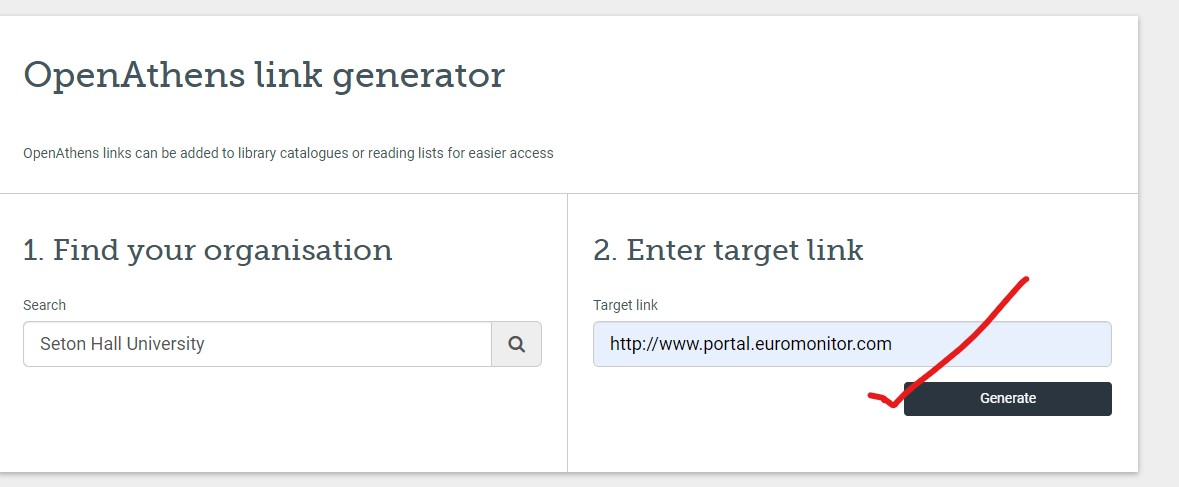 OpenAthens generate link box step two