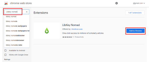 Chrome Web Store image showing LibKey Nomad entry
