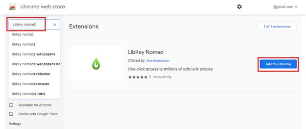 Chrome Web Store image showing LibKey Nomad entry