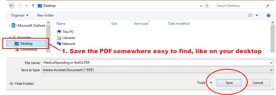 Save the PDF to the desktop