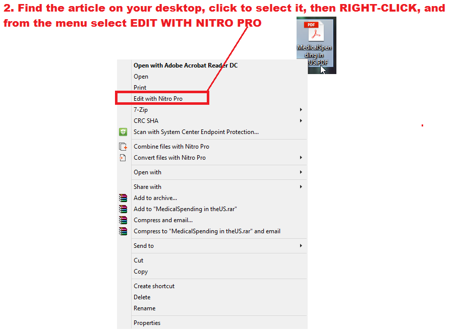 Right click and choose edit with NitroPro