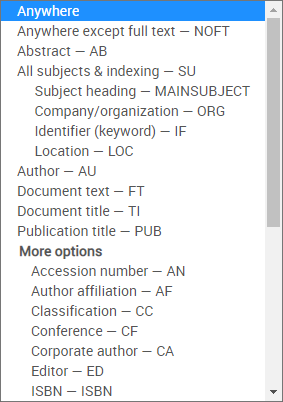 Available fields in Advanced Technologies and Aerospace Collection