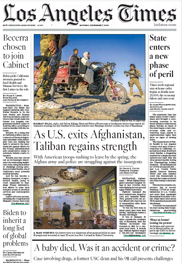 View of front page of the Los Angeles Times