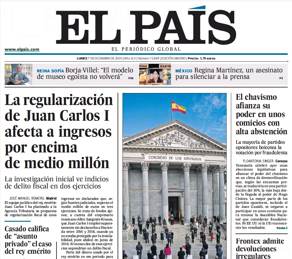 View of El Pais Newspaper from Spain