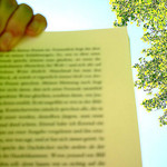hand holding book page up against the sunny sky