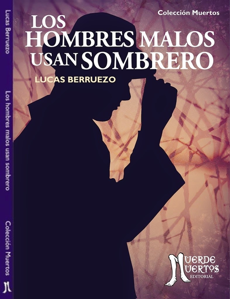 cover of Los hombres book purple background silhouette of man white type