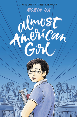 Cover of Almost American Girl title in white type against blue background with illustration of girl with ponytail holding a sketchbook