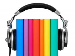 picture of books with headphones on