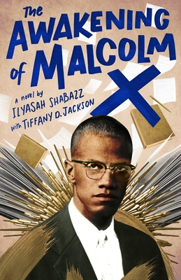 a drawing of Malcolm X, the title of the book in blue in an energetic font against a beige background