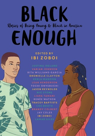 image of the cover of Black Enough: a boy an a girl looking at each other against a purple background