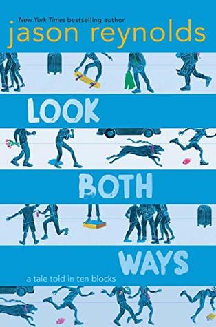 an image of the cover of Look Both Ways, blue stripes alternating with sidewalk scenes