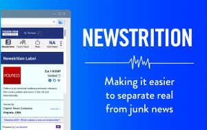 """Image of Newstrition app with the headline """"making it easier to separate real from junk news"""""""