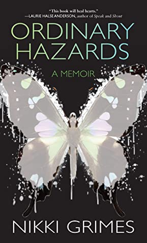 graphic of a gray butterfly against a black background with the title Ordinary Hazards in green type