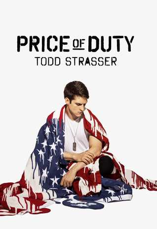 An image of the cover of Price of Duty by Todd Strasser: a boy sitting, draped in an American flag looking lonely