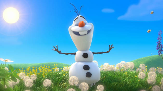 Snowman from Frozen happily melting in sun