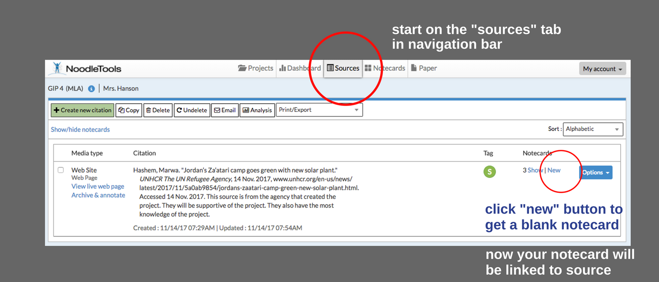 image of Noodletools source page with source navigation tab circled and new notecard button circled