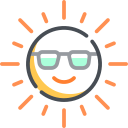 cartoon sun wearing shades and smiling