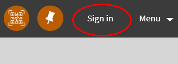 """This is a screenshot of the ALL-Search """"Sign In"""" link at the top right of the advanced search page. Here you will use your network credentials to login and make a resources sharing request"""