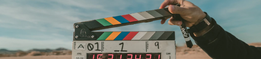 Ornamental image of a director's clapboard for shooting a film