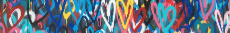 Ornamental image of a painting with multiple hearts in different colors