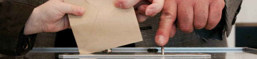 ornamental image of a voting ballot being placed in a ballot box