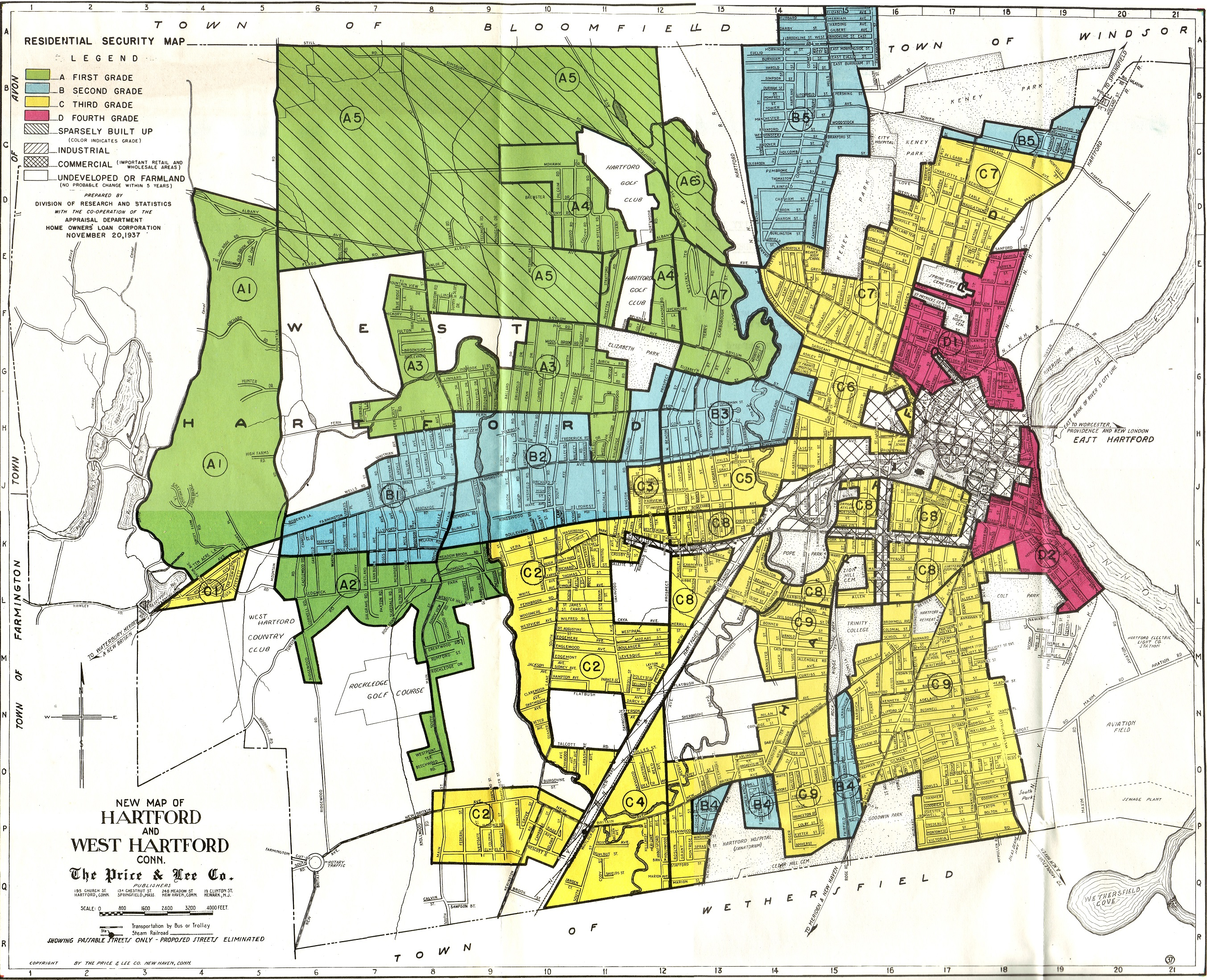 Redlining map of Hartford and West Hartford