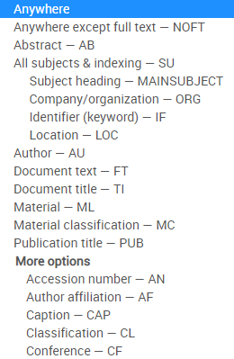 Screenshot of search menu on advanced search screen