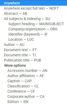 Screenshot of searchable fields.