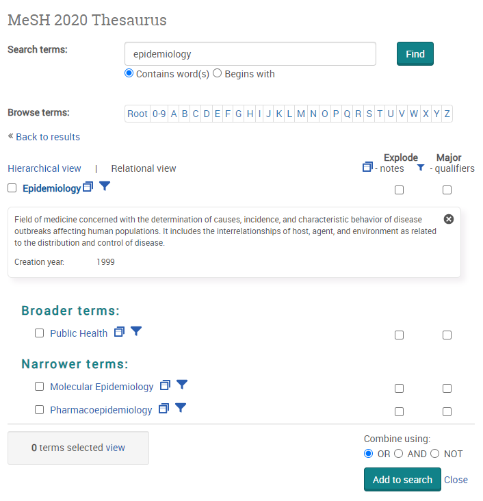 Screenshot of the MeSH thesaurus and illustrates the hierarchical view and scope note.
