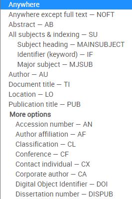 Displays the advanced search drop down menu.
