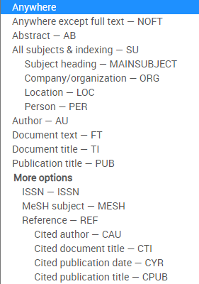 Screenshot of the searchable fields drop-down menu in Health & Medical Collection.
