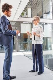 A man meets a blind woman.