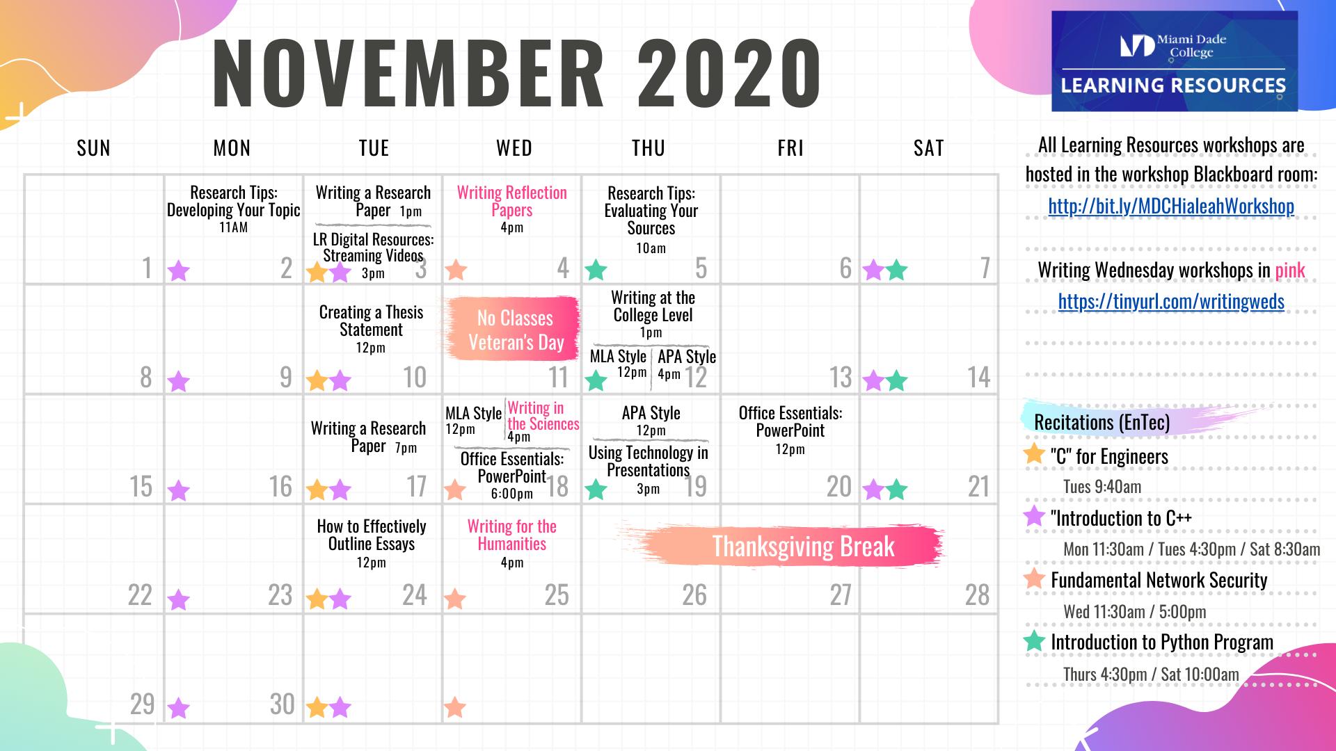 November Workshop Calendar
