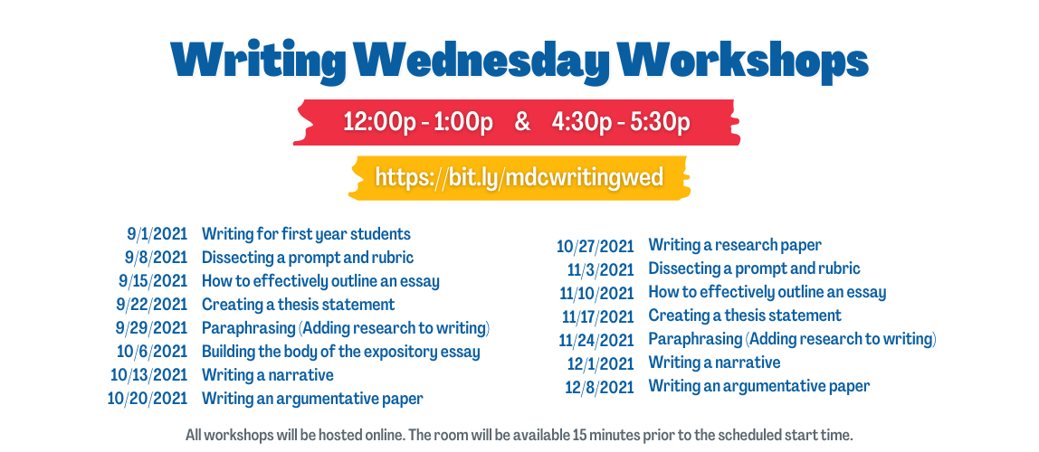 Writing Wednesday Workshops