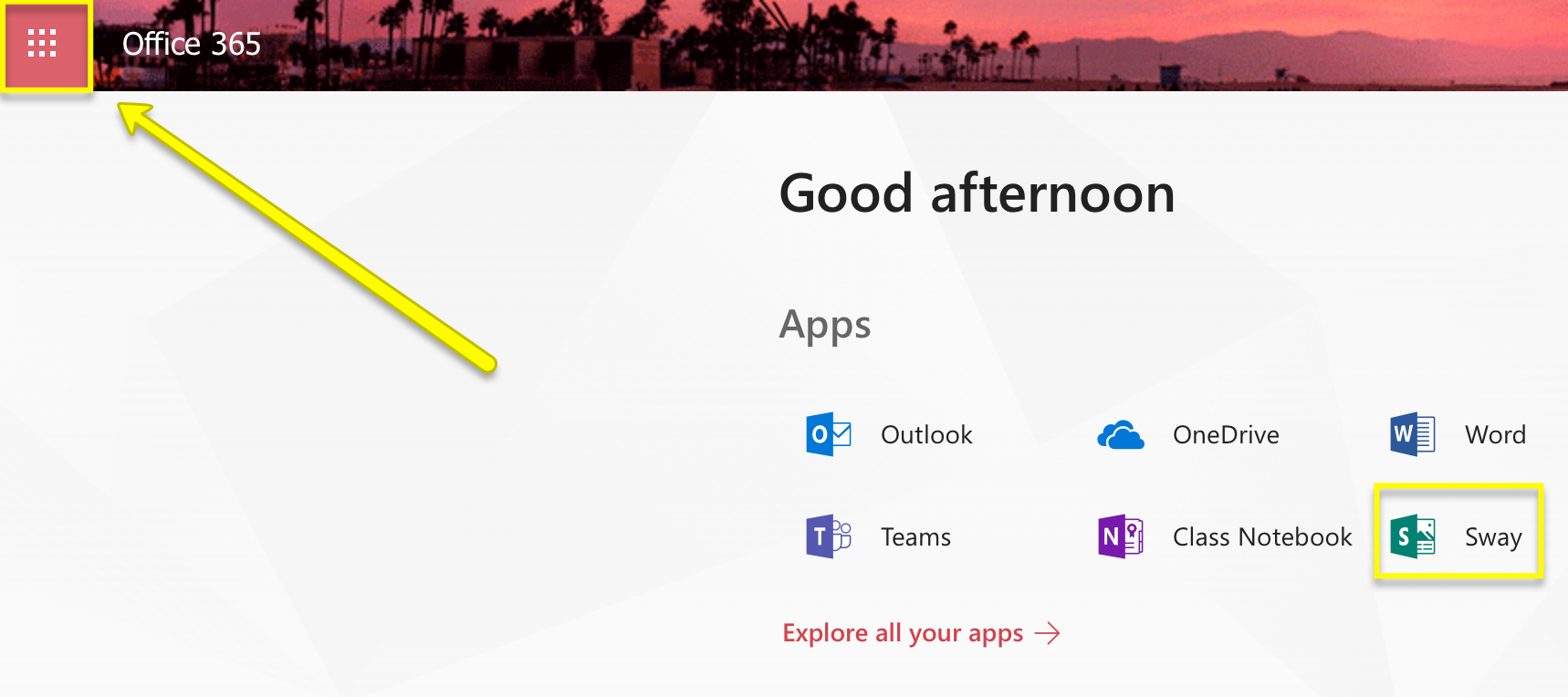 Image showing App launcher on the top left of the browser window in Office 365