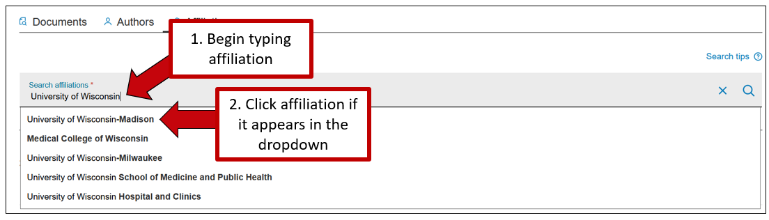 Screenshot of Scopus' affiliation search, with instructions to 1. begin typing the affiliation name into the searchbar and then 2. click the affiliation if it appears in the resulting dropdown