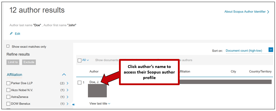 Screenshot of Scopus author results page, with instructions to click the author name to go to the author's scopus profile