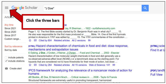 Screenshot of Google Scholar's results page. An arrow points to three bars in the upper left-hand corner of the page, with instructions to click the three bars.