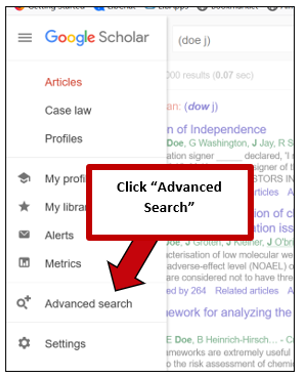 """Screenshot of Google Scholar's additional options dropdown, with instructions to click """"Advanced Search."""""""