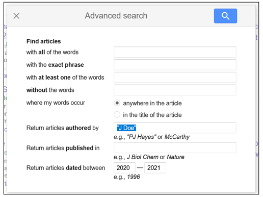 """Screenshot of Google Scholar's Advanced Search, with """"J Doe"""" in the Articles Authored by search bar"""