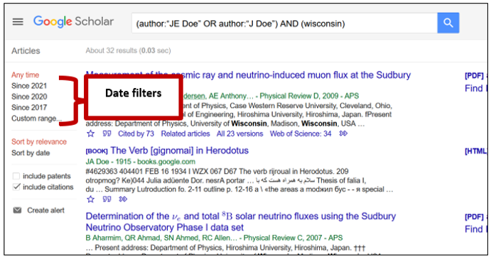 Screenshot of Google Scholar's results page, with a bracket indicating the date filters on the left-hand side of the page