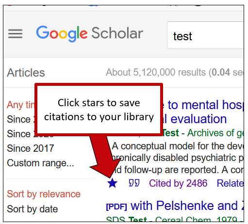 Screenshot of Google Scholar's results page. An arrow indicates a little star under the article description, with instructions to click the star to save the article record to your library.