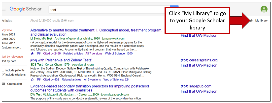 """Screenshot of Google Scholar results page. An arrow indicates the My Library button in the upper right hand corner of the screen, with instructions to click """"My Library"""" to go to your Google Scholar library"""