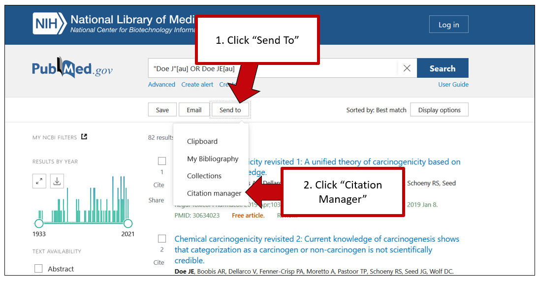"""Screenshot of PubMed results page. The first arrow points to the """"Send To"""" button, with instructions to click it. A second arrow points to the resulting dropdown, with instructions to click """"Citation Manager."""""""