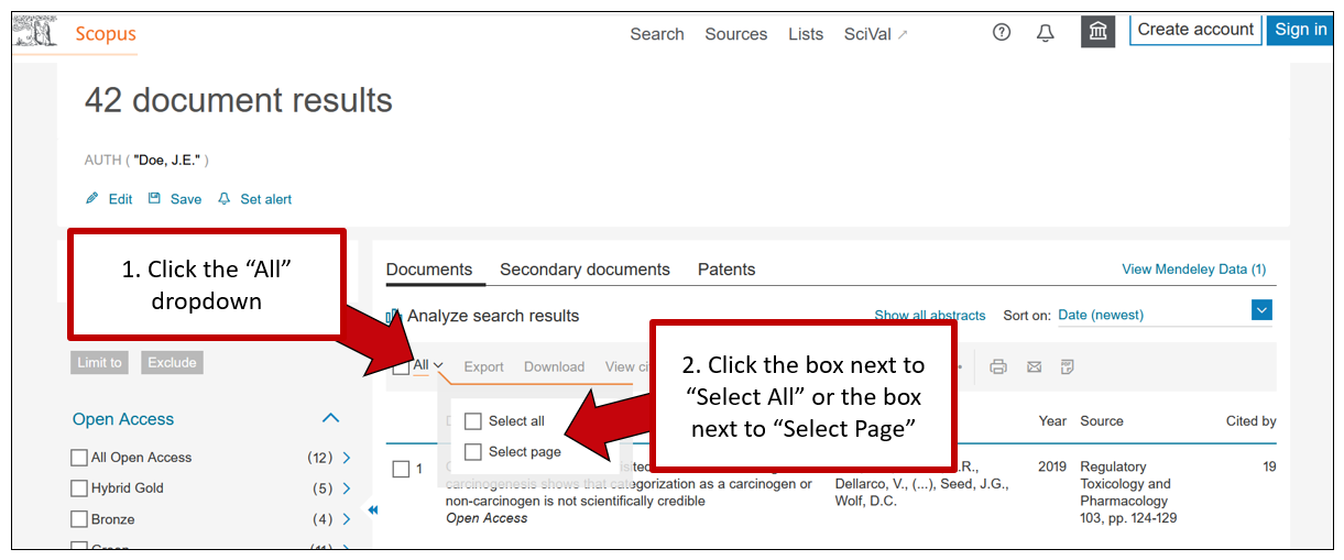 """Screenshot of Scopus results page. The first arrow indicates the """"All"""" dropdown, with instructions to click the All dropdown. A second arrow indicates the resulting dropdown, with instructions to click either the white box to select all results, or the white box to select all results on the current page"""