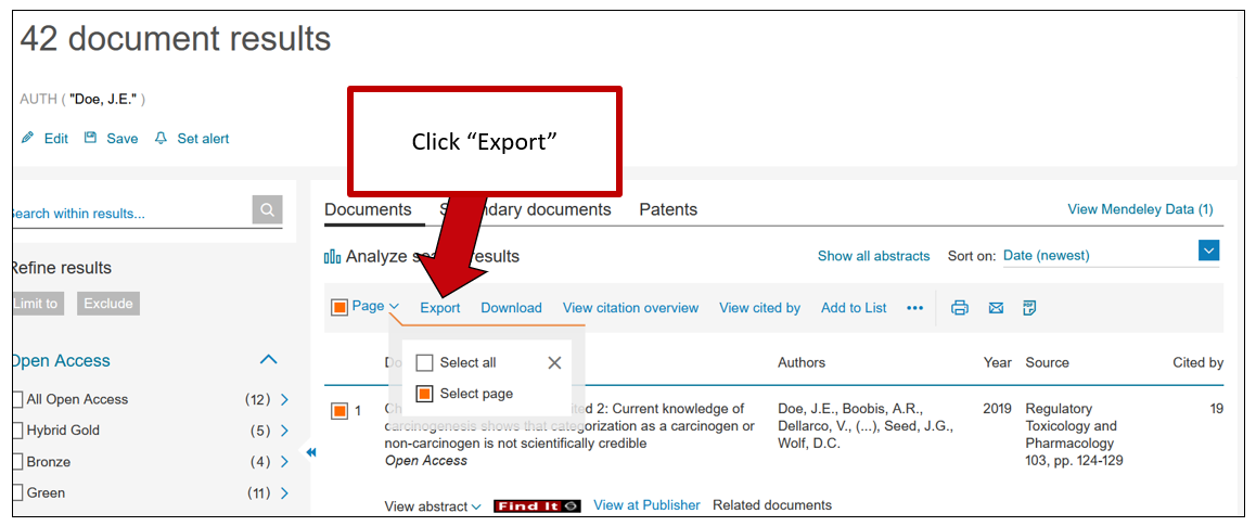 Screenshot of Scopus results page. An arrow indicates the Export button, with instructions to click Export.