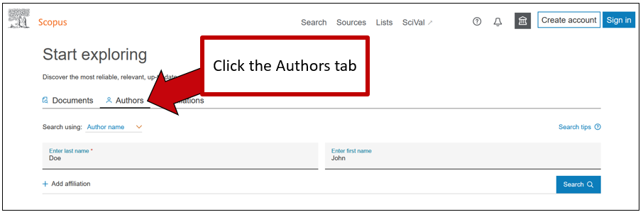 Screenshot of Scopus Author Search tab, with instructions to click the Authors tab